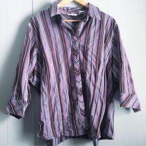 VINTAGE 90s Slim Fit Striped Button Shirt 26/28W